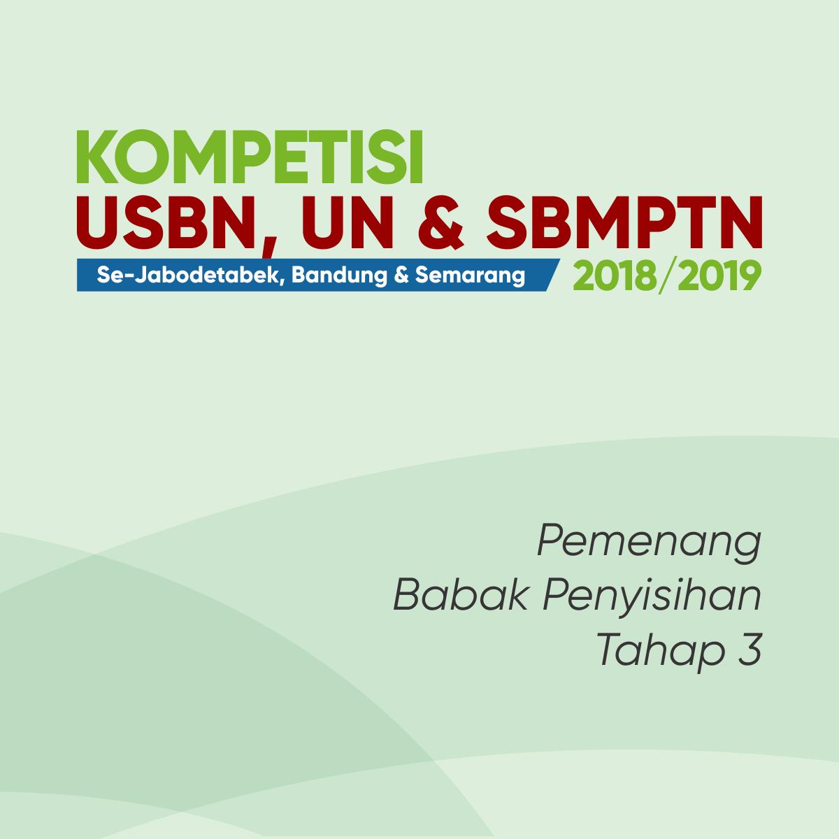[Tahap 3] – Pemenang Babak Penyisihan Kompetisi USBD, UN, & SBMPTN Se-Jabodetabek, Bandung dan Semarang