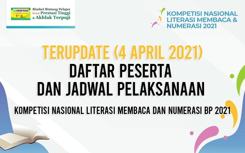 Update DAFTAR PESERTA DAN JADWAL PELAKSANAAN KOMPETISI NASIONAL LITERASI MEMBACA DAN NUMERASI BP 2021 versi 4 April 2021